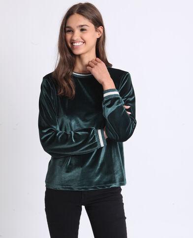 Fluwelen sweater groen