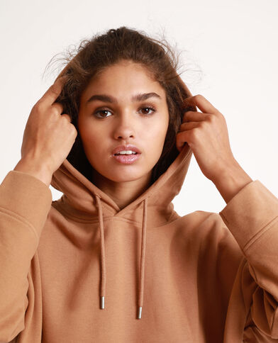 Sweat à capuche oversized caramel