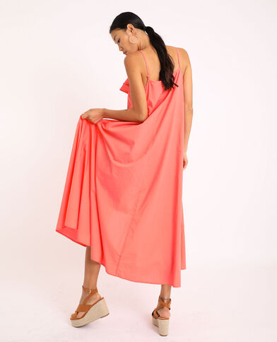 Lange jurk met dunne schouderbandjes roze