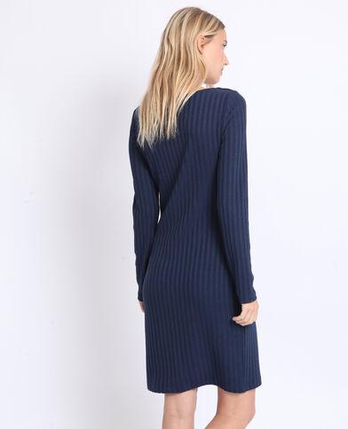 Jurk van geribbeld tricot marineblauw