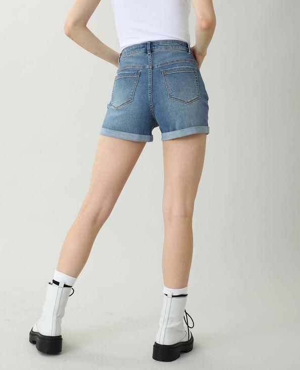Jeansshort met hoge taille denimblauw - Pimkie