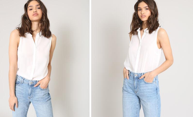 Hemd zonder mouwen gebroken wit