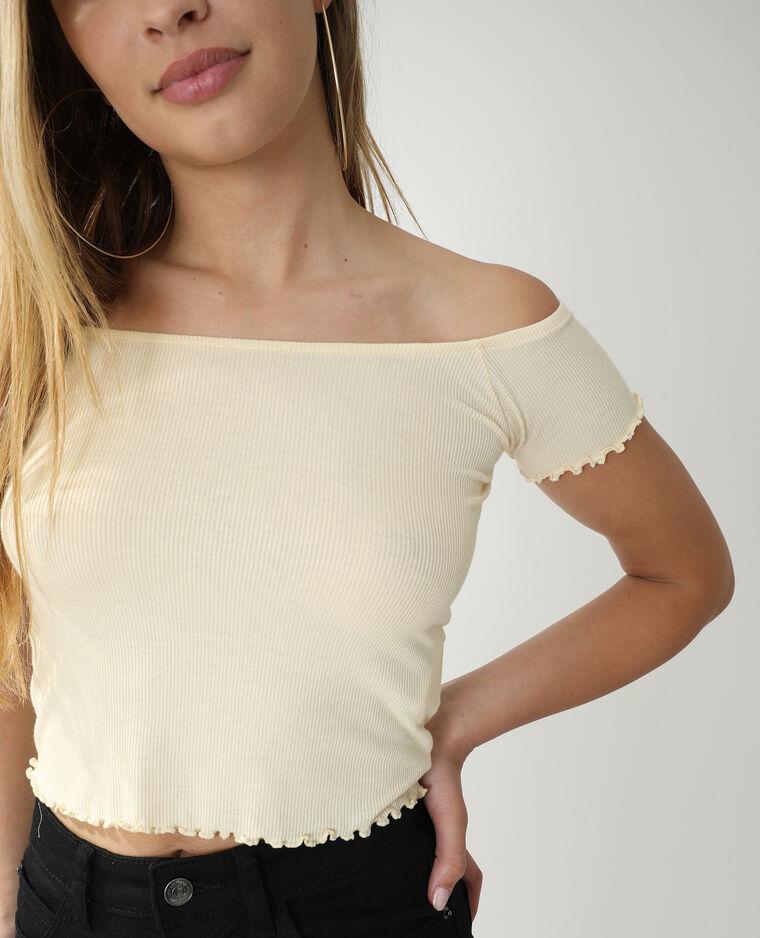 T-shirt van ribstof bleekgeel - Pimkie