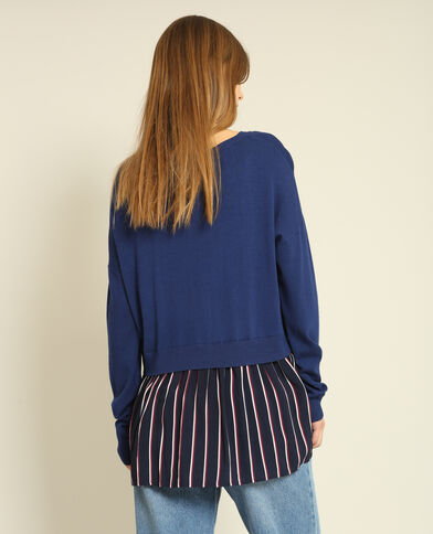 Pull chemise bleu marine