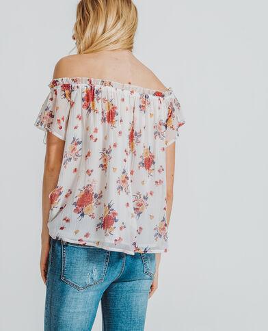 Shirt met bloemenprint en bardothals gebroken wit
