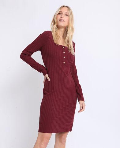 Jurk van geribbeld tricot bordeauxrood