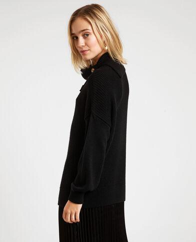 Wijde trui met grote kraag zwart