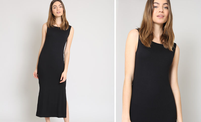 Lange, strakke jurk zwart