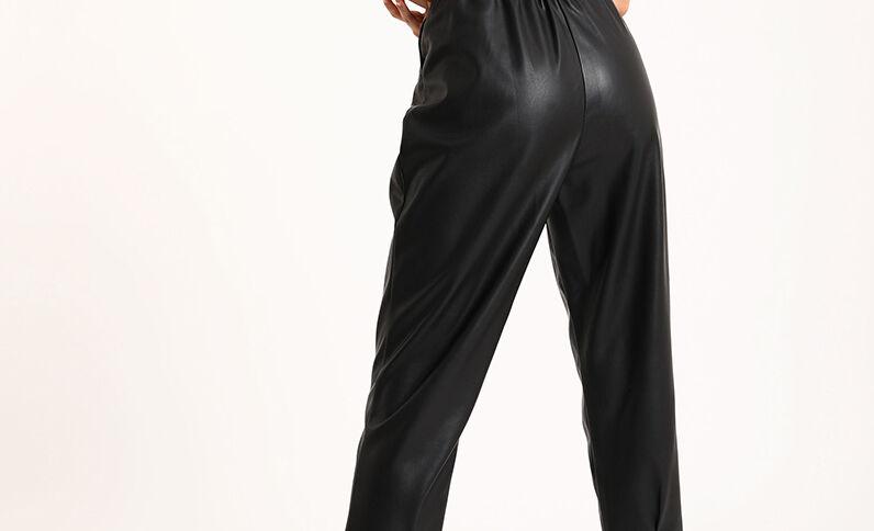 Pantalon simili cuir noir