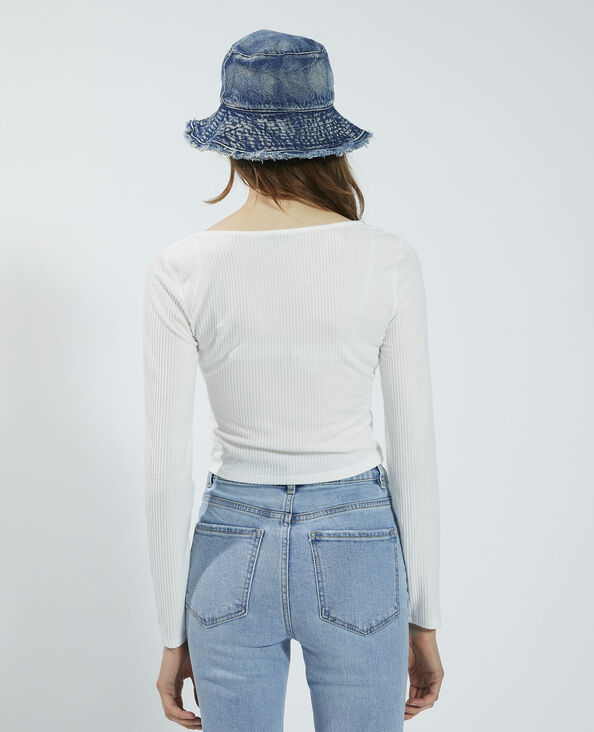 Geribbeld zacht T-shirt om vast te knopen wit - Pimkie