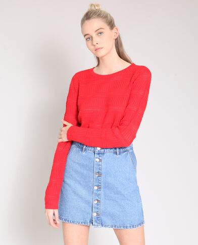 Opengewerkte trui rood