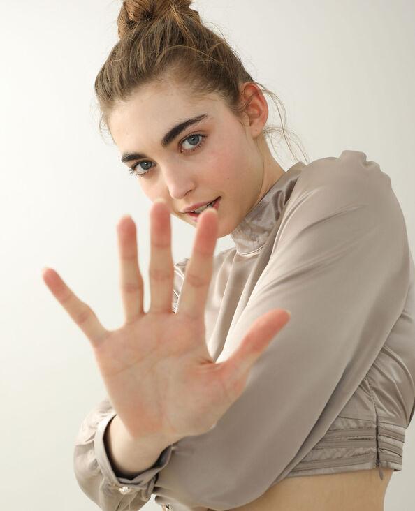Satijnachtige blouse kastanjebruin - Pimkie