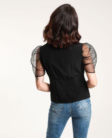 Shirt met pofmouwen zwart