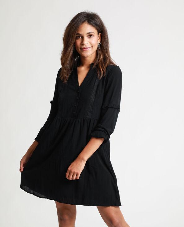 Robe chemise brodée noir