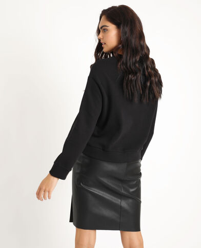Sweater met print zwart