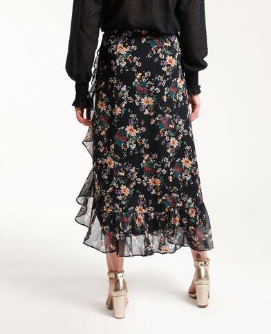 Lange rok met bloemenprint zwart + rood