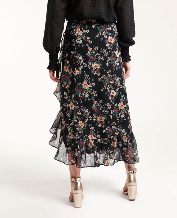 Jupe longue à fleurs noir + rouge