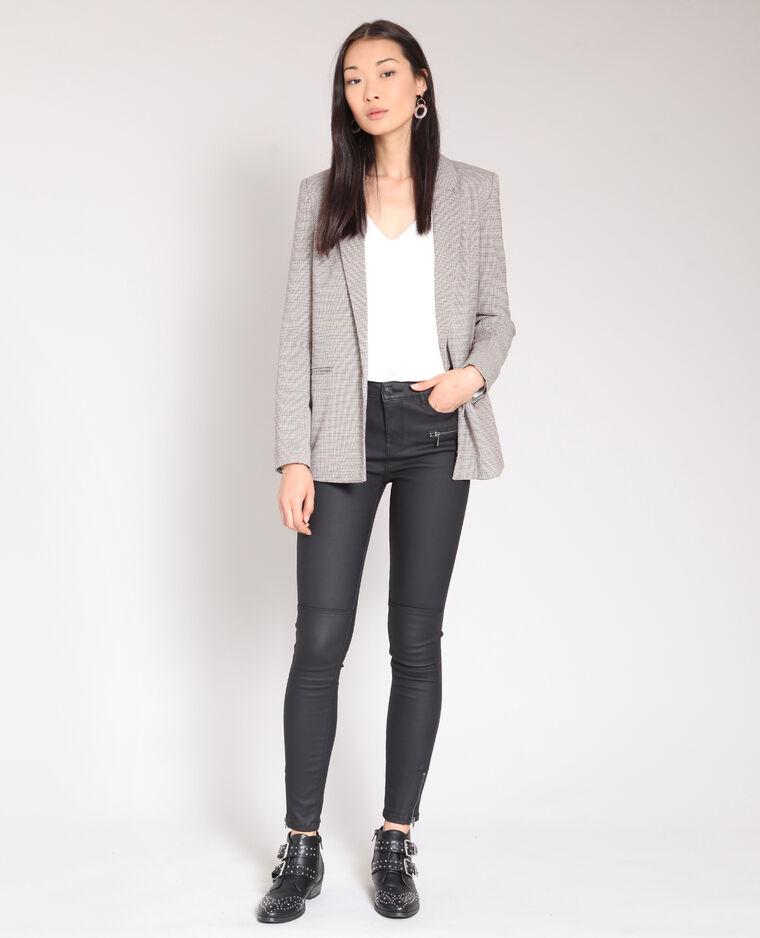 Gecoate skinny broek zwart