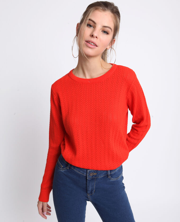 Pull ajouré orange