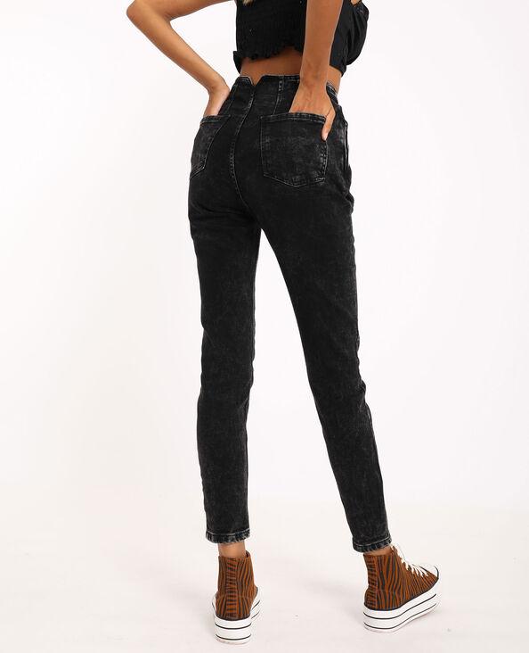 Skinny jeans met hoge taille verwassen grijs
