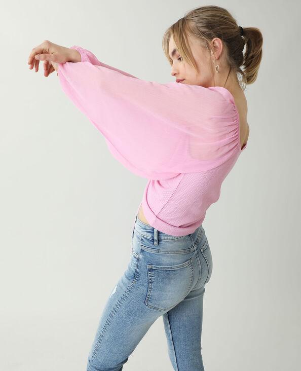 Top met doorschijnende mouwen roze - Pimkie