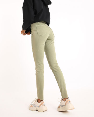 Skinny jeans met hoge taille kaki