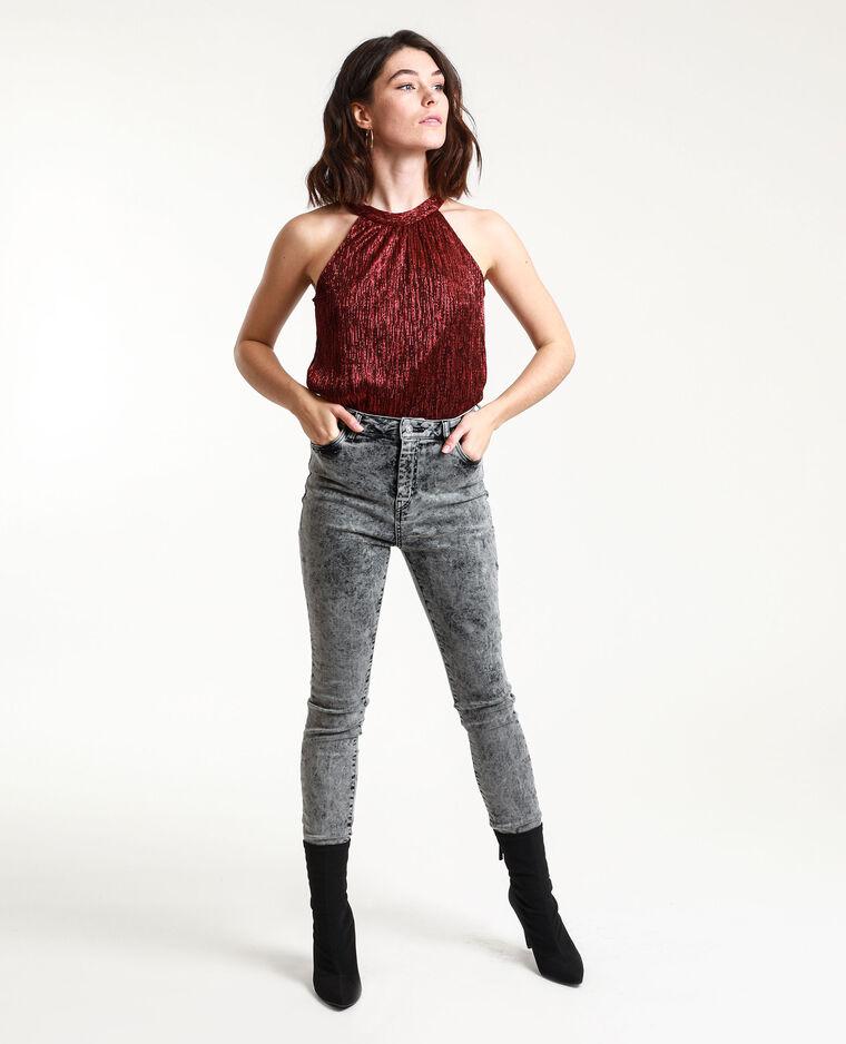 Jean skinny high waist délavé gris