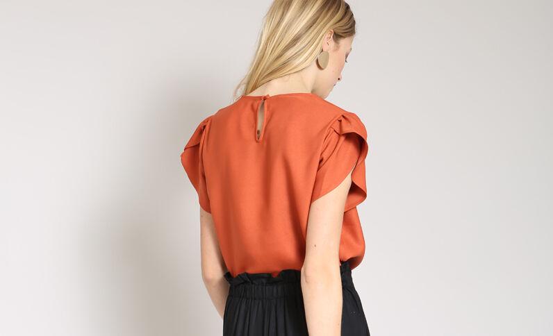 Soepele blouse baksteenrood