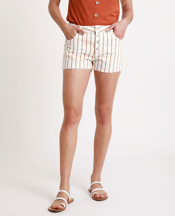 Gestreepte jeansshort wit
