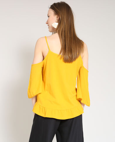 Top à manches peekaboo jaune
