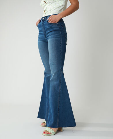 Flared jeans met hoge taille donkerblauw - Pimkie