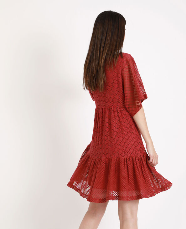 Kanten jurk framboos