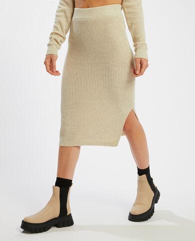Halflange rok van ribstof gebroken wit - Pimkie