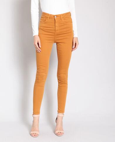 Pantalon skinny taille haute brun