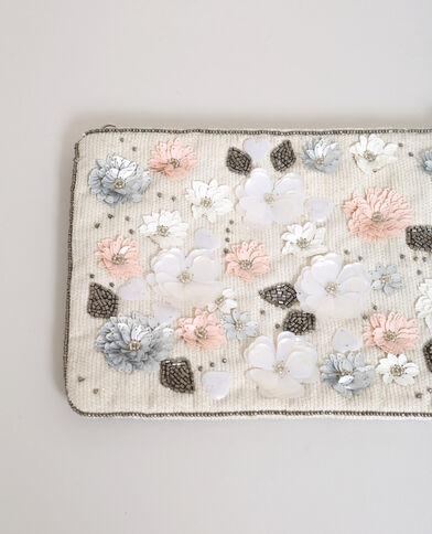 Enveloptasje met bloemen gebroken wit
