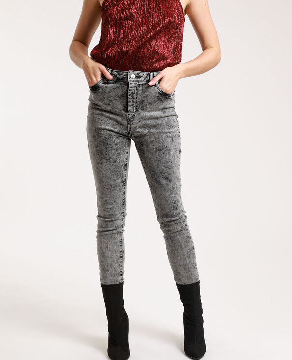 Verwassen skinny jeans met hoge taille grijs