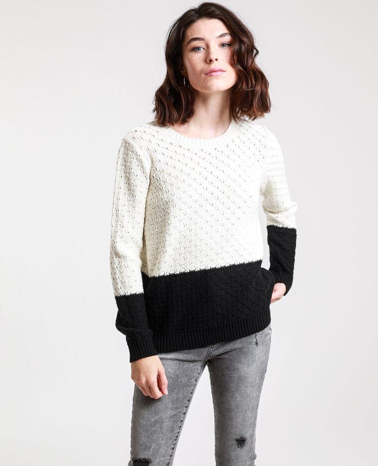 Tweekleurige trui gebroken wit