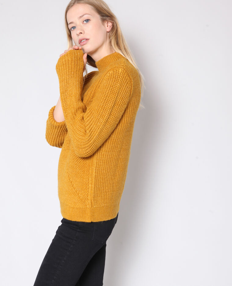 Pull maille fantaisie jaune -45% - 407185003A00   Pimkie cceb1fe52429