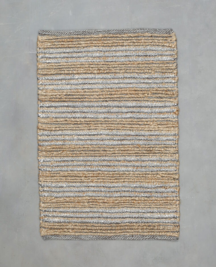 tapis tiss en jute et simili cuir - Tapis Jute