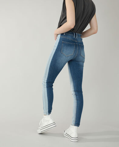 Tweekleurige skinny jeans met hoge taille denimblauw - Pimkie