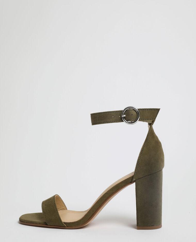 Sandales à talons microfibre kaki