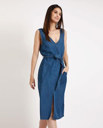 Lange jurk met V-hals blauw