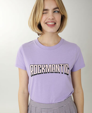 T-shirt met tekst violet
