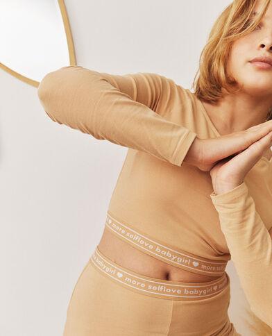 Cropped top loungewear beige