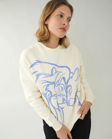 Sweat molleton Le Roi Lion blanc cassé