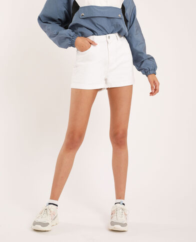 Jeansshort met hoge taille wit