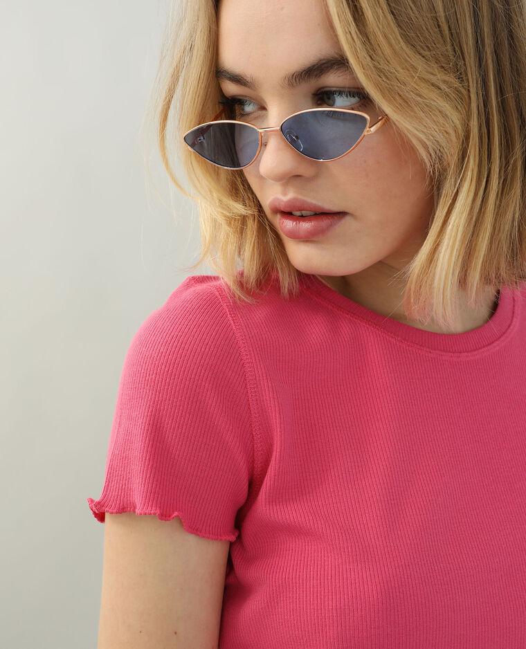 T-shirt van ribstof met ruche roze - Pimkie