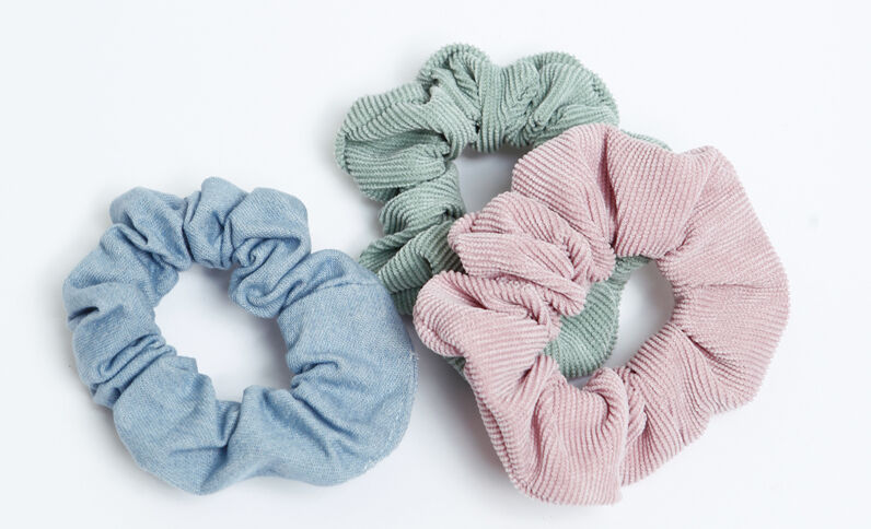 Set van 3 scrunchies poederroze