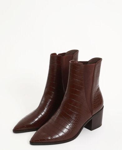 Laarzen met krokodilleneffect kastanjebruin