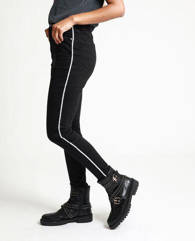 Jean skinny à bandes noir